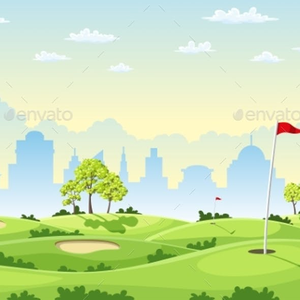 Countryside Golf Course With Flags