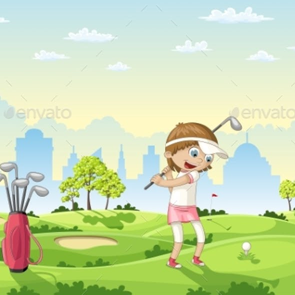 Girl Plays Golf