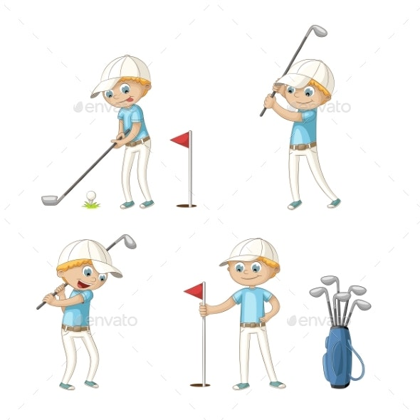 Boy Playing Golf - Sports/Activity Conceptual