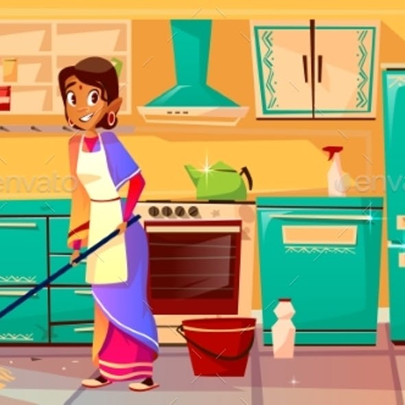 Indian Housewife Cleaning Kitchen Vector