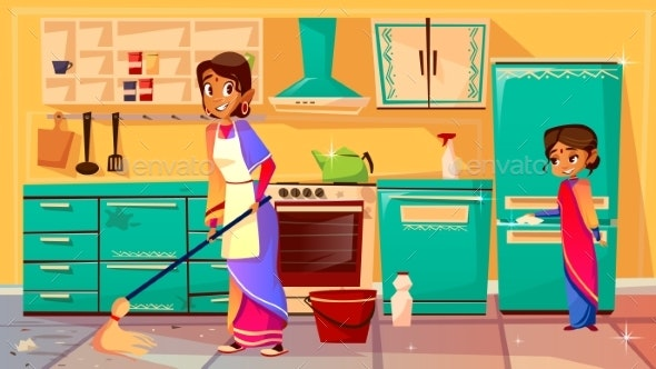 Indian Housewife Cleaning Kitchen Vector - People Characters