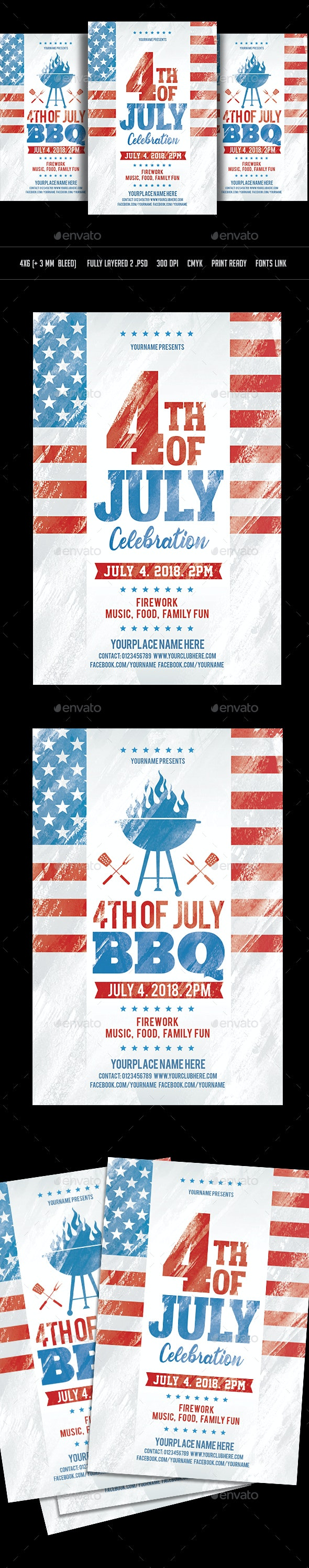 4th of July and BBQ Flyer - Events Flyers