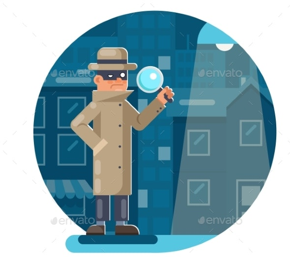 Magnifying Glass Mask Spy Detective Cartoon - People Characters