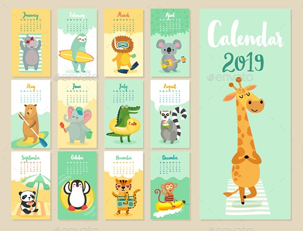 Calendar 2019 - Animals Characters