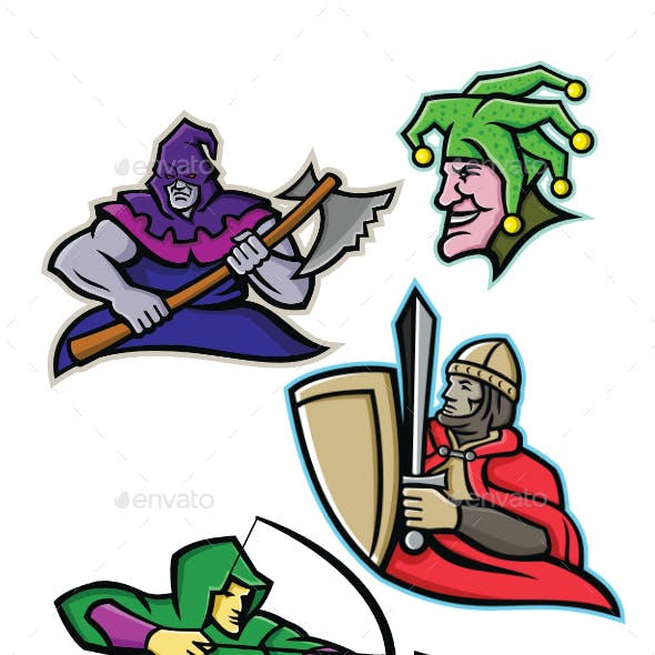 Medieval Court Character Mascot Collection