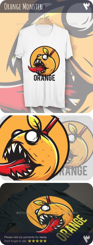 Orange Monster - T-Shirt Design - Funny Designs