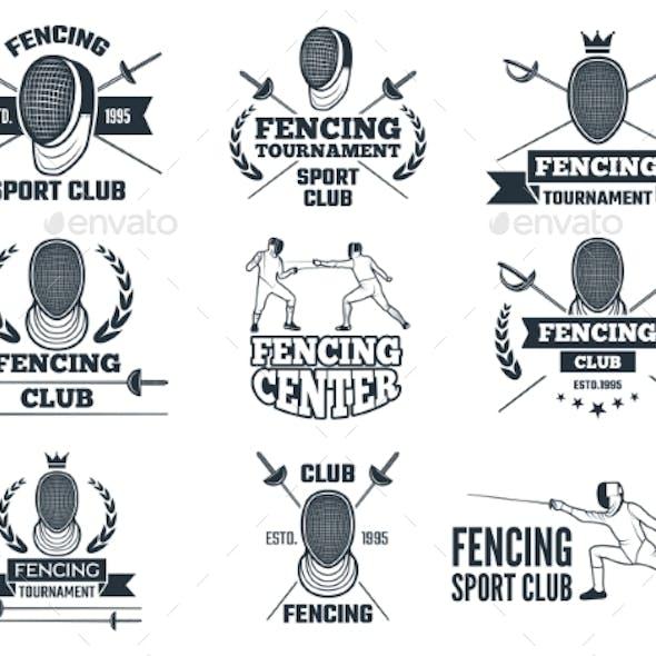 Labels Set for Fencing Sport