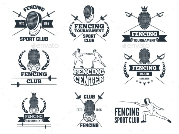Labels Set for Fencing Sport - Sports/Activity Conceptual