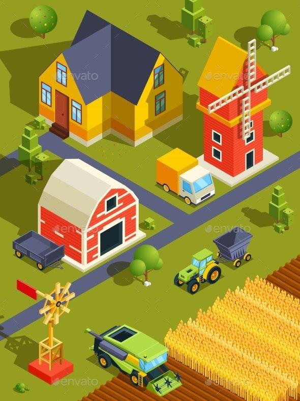 Isometric Landscape of Village or Farm - Miscellaneous Vectors