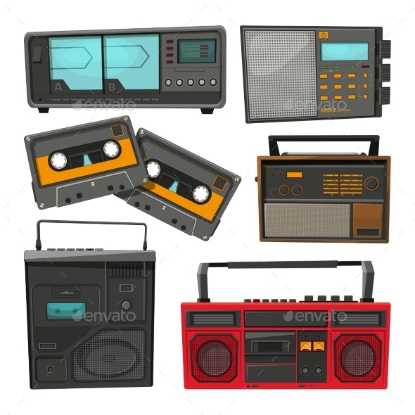 Cartoon Illustrations of Old Music Cassettes - Retro Technology