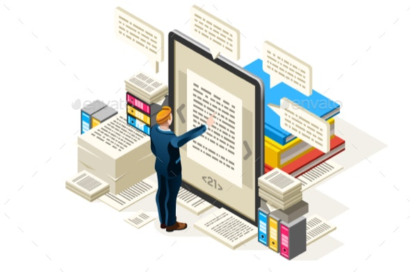 Online Textbook Vector Isometric Icon - Web Technology