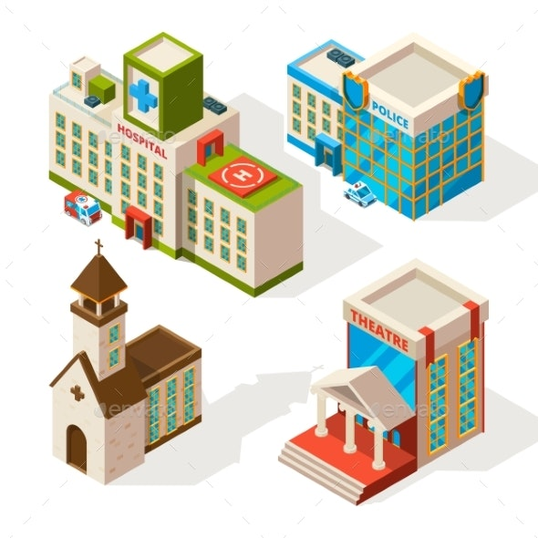 Isometric Pictures of Municipal Buildings - Buildings Objects