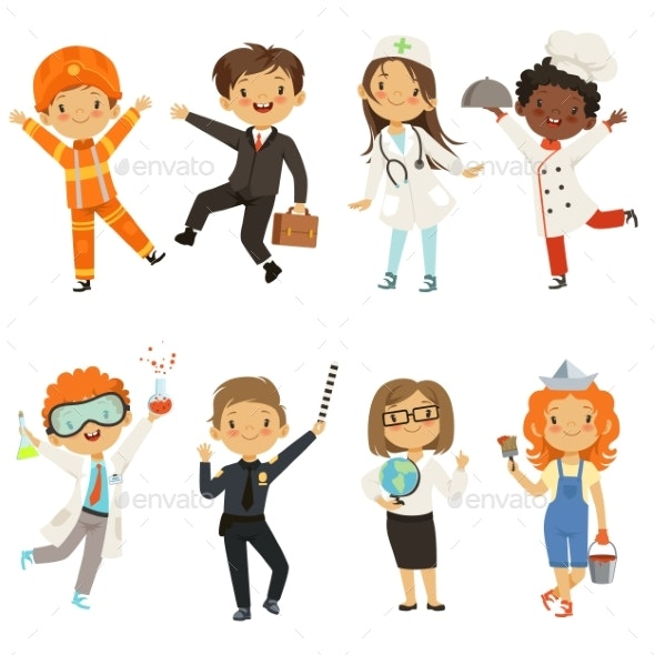 Young Kids Boys and Girls of Different Professions - People Characters