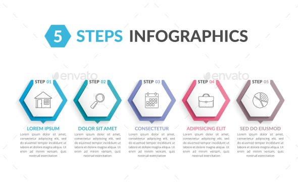 Infographic Template with 5 Hexagons - Infographics