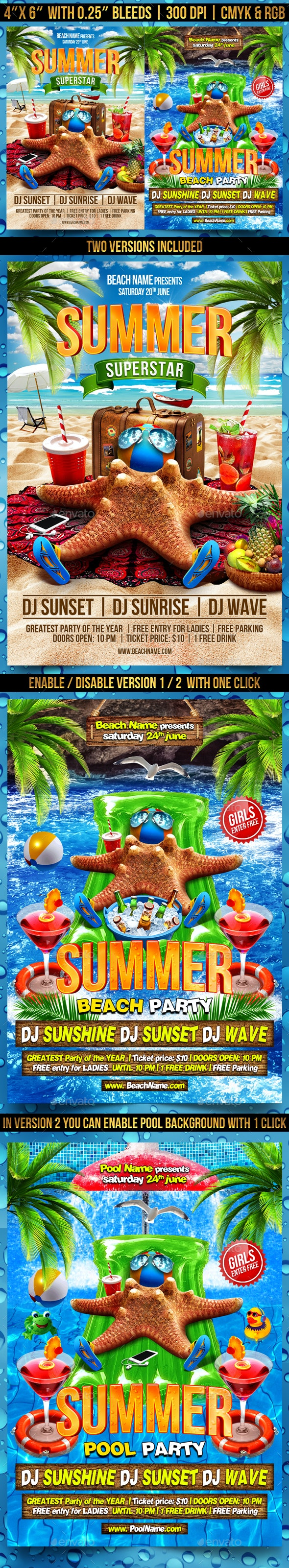 Summer Superstar Flyer Template - Clubs & Parties Events