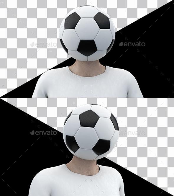 Soccer Ball Head - 3D Renders Graphics