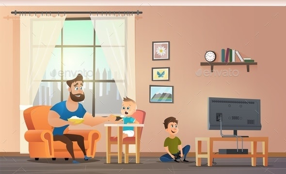 Father Sitting at Home With Children - People Characters