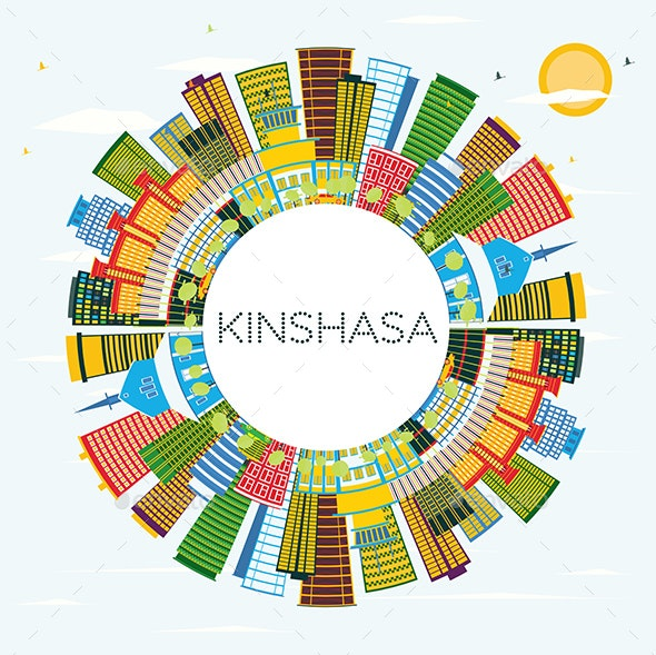 Kinshasa Skyline with Color Buildings - Buildings Objects
