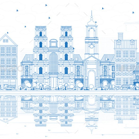 Outline Rennes France City Skyline with Blue Buildings and Reflections