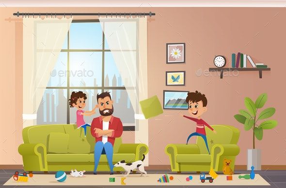 Mad Father at Home with Naughty Children Vector - People Characters
