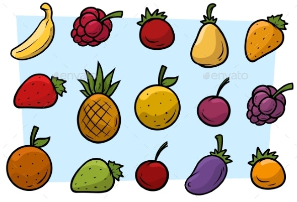 Cartoon Fruits and Vegetables Vector Icon Set - Food Objects