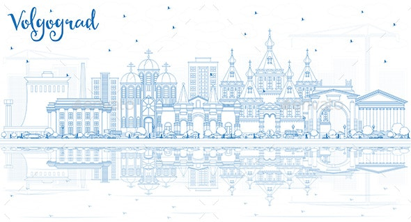 Outline Volgograd Russia City Skyline with Blue Buildings and Reflections - Buildings Objects