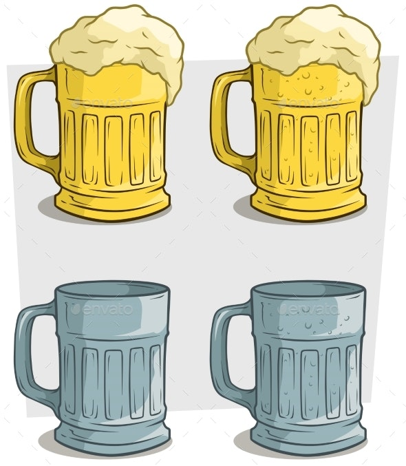 Cartoon Ribbed Colorful Beer Mugs Vector Icon Set - Food Objects