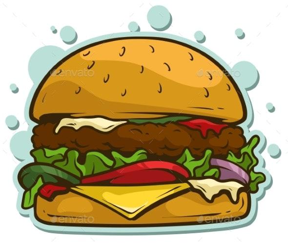 Cartoon Hamburger Vector Sticker Icon - Food Objects