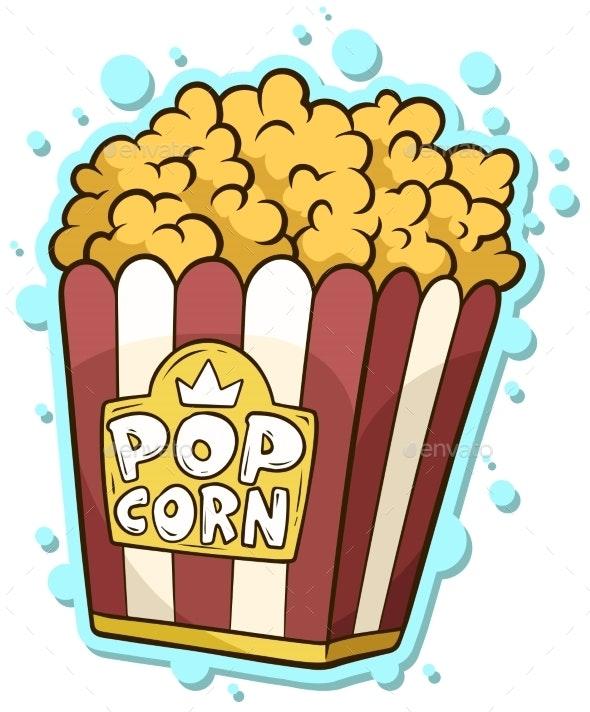 Cartoon Popcorn in Paper Bucket Box - Food Objects
