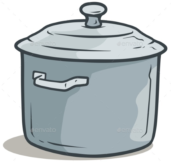 Cartoon Gray Cooking Pot with Cover - Man-made Objects Objects