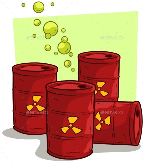 Cartoon Red Metal Barrels with Radiation Sign - Miscellaneous Vectors