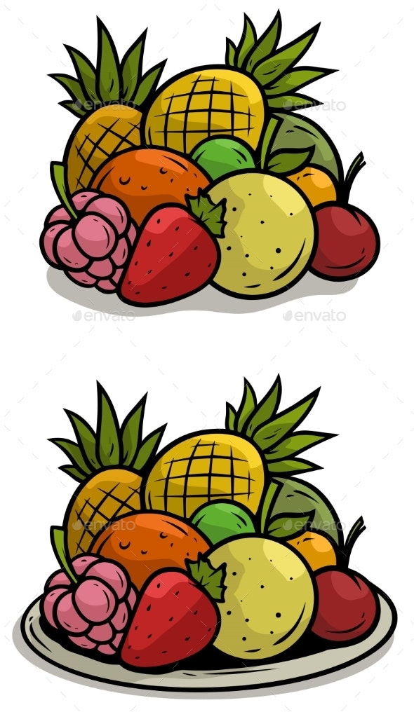 Cartoon Colorful Fruits on Tray Vector Set - Food Objects