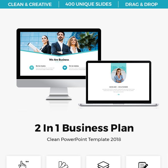 Bundle 2 In 1 Business Plan Clean Powerpoint Template