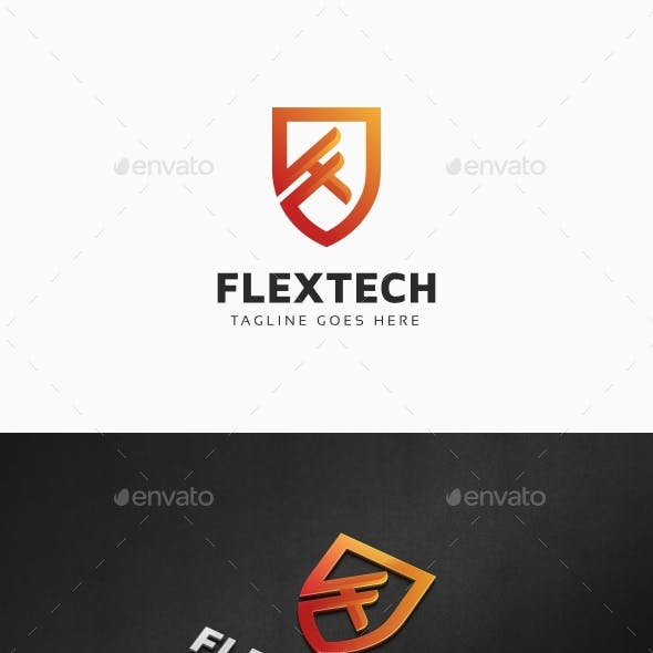 Flextech - Shield F Letter Logo