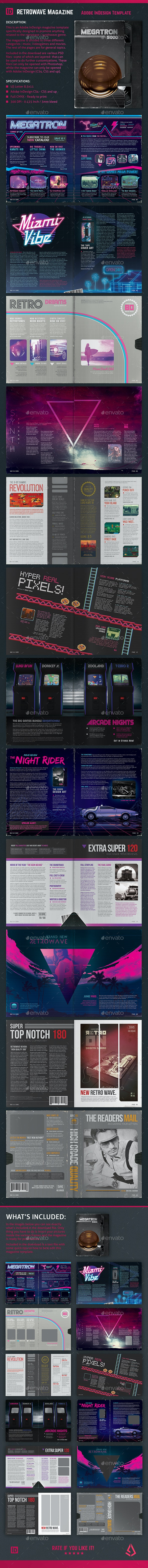 Retrowave Magazine Template Synthwave 24 Pages Indesign - Magazines Print Templates