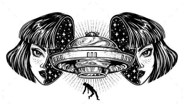 Portrait of Alien Spaceship - Monsters Characters