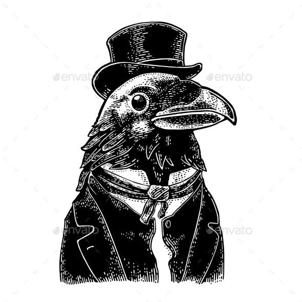 Raven Gentlemen Dressed in Suit