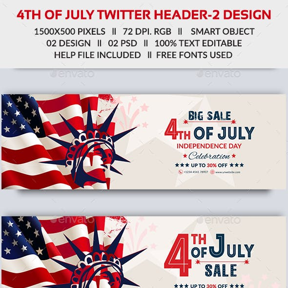 4th of July Twitter Cover - 2 Design- Image Included