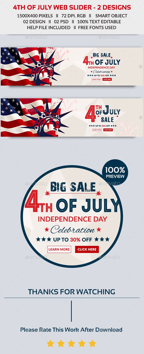 4th of July Web Slider - 2 Design- Image Included - Sliders & Features Web Elements