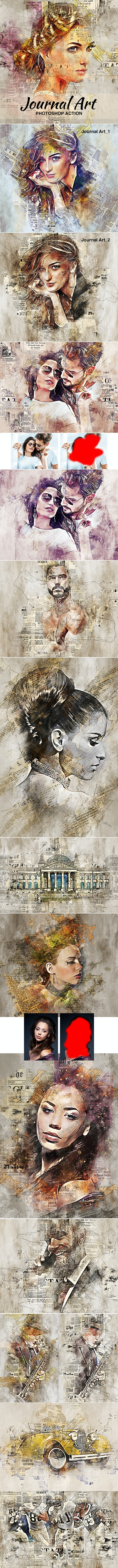 Journal Art Photoshop Action - Photo Effects Actions