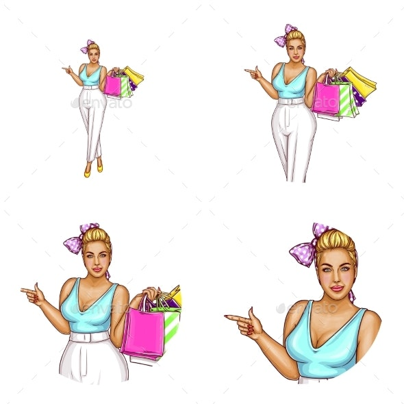 Vector Avatar of Blonde Overweight Woman Shopping - People Characters