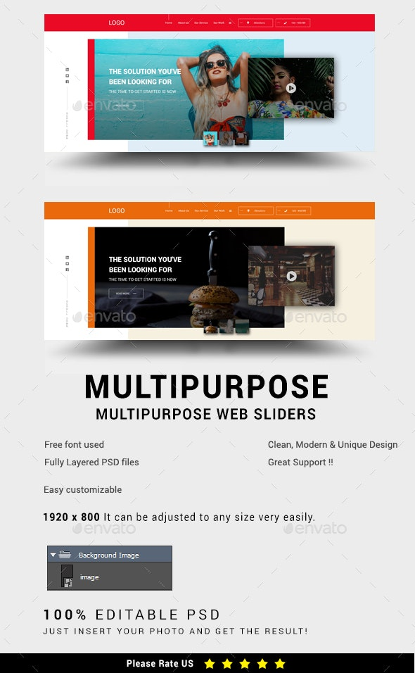 Multipurpose Web Sliders - Sliders & Features Web Elements