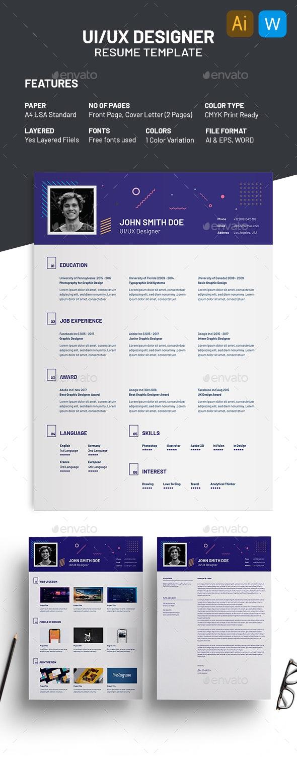 UI UX Designer Resume Template - Resumes Stationery