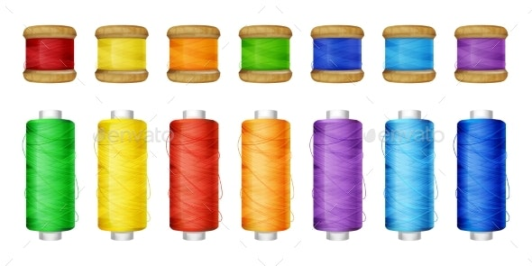Thread Spools Color Set Vector Illustration - Man-made Objects Objects