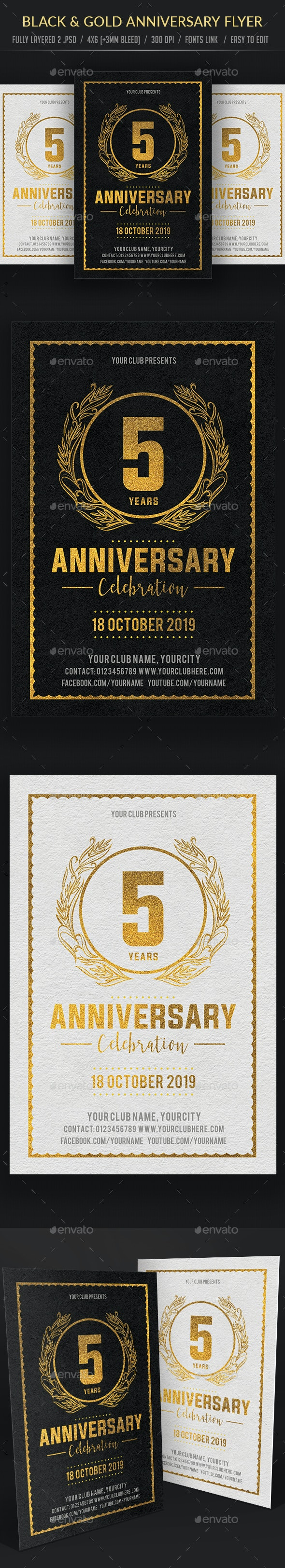 Black & Gold Anniversary Flyer - Events Flyers
