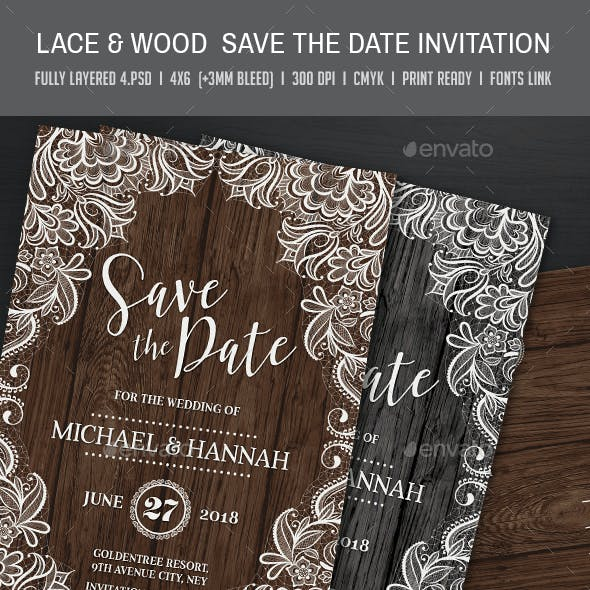 Lace & Wood Save the Date Invitation