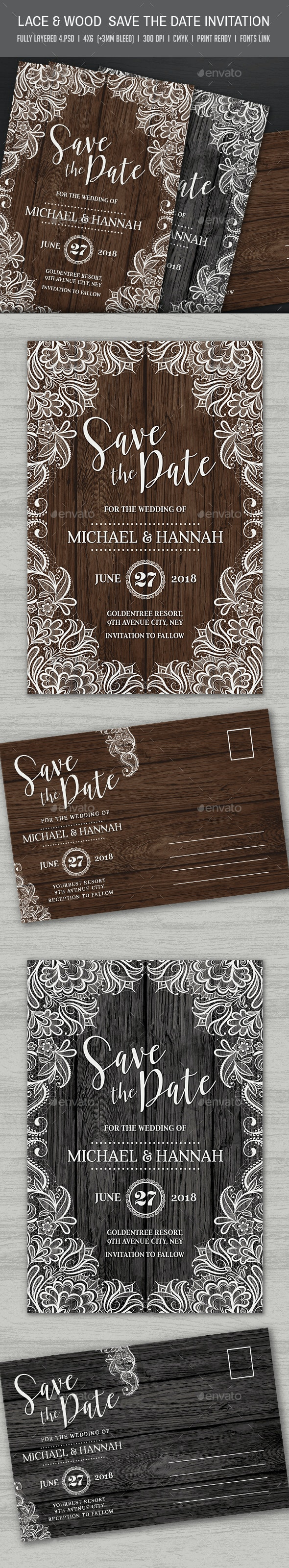 Lace & Wood Save the Date Invitation - Cards & Invites Print Templates