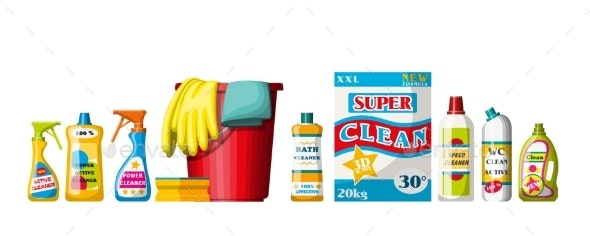 Collection of Different Cleaning Agents - Man-made Objects Objects