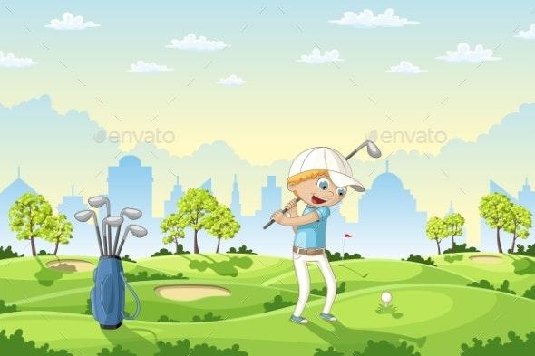 Boy Plays Golf - Sports/Activity Conceptual