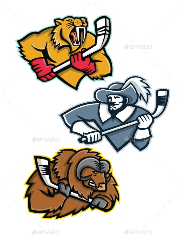 Ice Hockey Sports Mascot Collection - Sports/Activity Conceptual